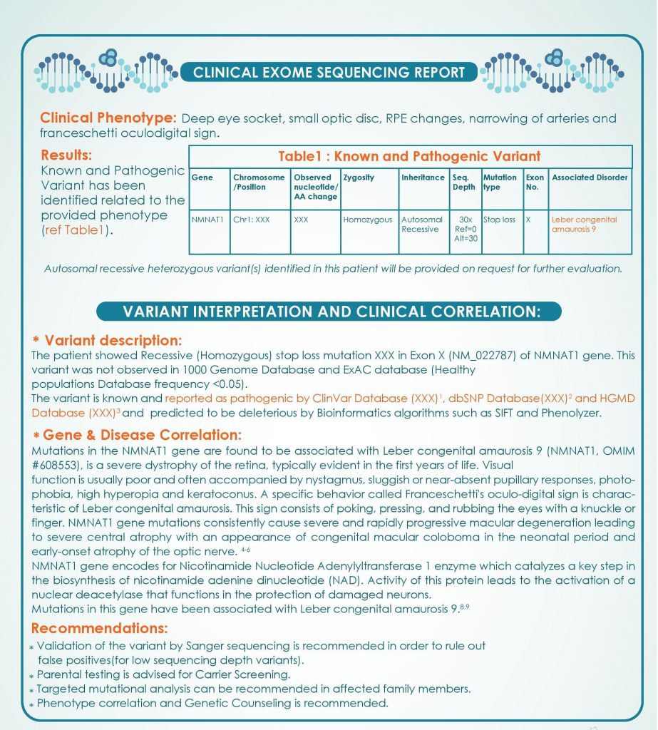 clinical diagnostic genetic testing ophthalmology